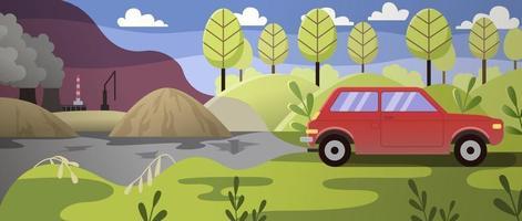 Environmental pollution with car vector