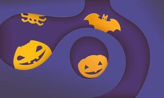 Halloween banner with hanging pumpkins vector
