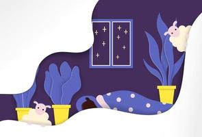 Night time in the bedroom vector