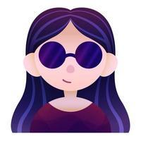 retrato, avatar, de, niña, con, anteojos vector