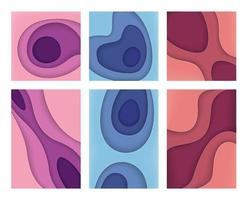 Set of layered paper cut backgrounds vector