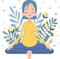 mujer embarazada haciendo yoga vector