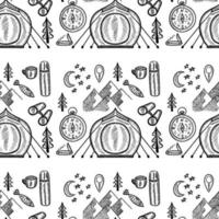 camping seamless doodle vector