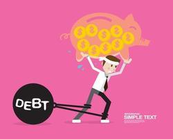 conceptos de negocio, hombre con deuda vector