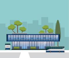 Bus terminal building vector design