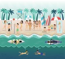 ON THE BEACH, sea side and beach items, vector design
