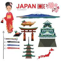 JAPAN ELEMENT and travel vector design