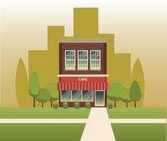 cafe building vector design