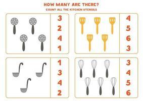 juego de contar con cubiertos de cocina. hoja de trabajo de matemáticas. vector