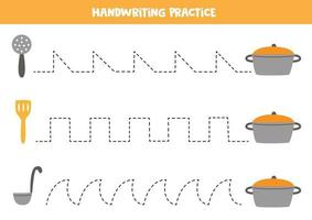 Tracing lines with kitchen utensils. Writing practice. vector