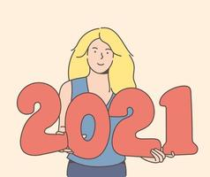 Smiley blonde woman holding 2021 balloons vector