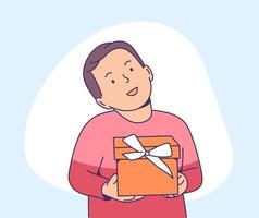 Christmas or New year concept. Happy little kid holding present box. Christmas holiday celebration, winter season tradition. vector
