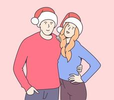 Christmas, gift, New Years eve concept. Happy smiling young couple in christmas hats hugging. Traditional celebration. vector