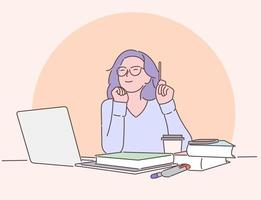 Work, education, freelance concept. Happy businesswoman or girl working on a laptop in the office. vector