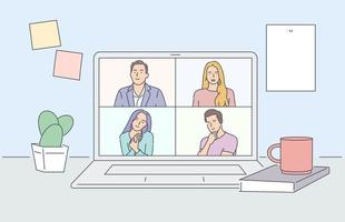 quedarse y trabajar desde casa. Ilustración de videoconferencia. lugar de trabajo, pantalla de computadora portátil, grupo de personas hablando por internet. ilustraciones de diseño de vectores de estilo dibujado a mano.