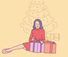 Christmas or New year concept. Young happy smiling woman cartoon character unpacking many presents. New year christmas or birthday gifts giveaway illustration. vector