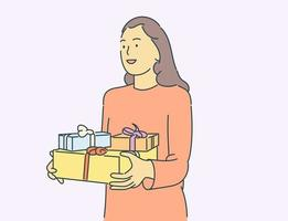Christmas or New year concept. Happy young girl or woman keeps boxes of gifts at home. vector