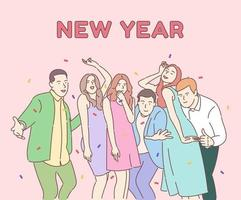 New Year corporate party concept. Happy colleagues, friends celebrating winter holiday, positive business team with champagne, merry Christmas, traditional december event. vector