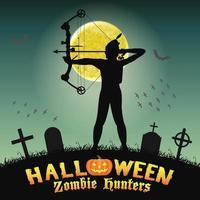 Halloween arquero cazador de zombies en el cementerio nocturno vector