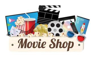 Movie shop wood board with pop corn, film, cd disc, dvd, movie box, smart television, remote, ticket, emotion mask and 3d glasses vector