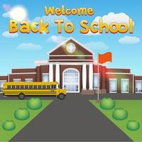welcome back to school with front school building vector