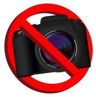 Sin cámara, señal de prohibición sobre fondo blanco. vector