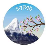 japan sakura cherry blossom and fuji mountain logo vector