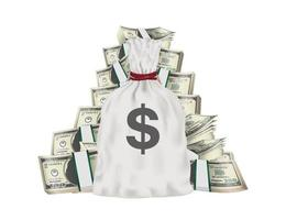 money bag with pile of pack dollar banknotes vector