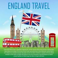 england travel with landmarks and icons of england vector