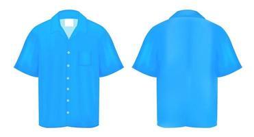 camisa polo azul vector