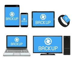 smart device and computer backing up data vector