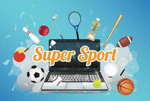 Super Sport  with sport equipment floating on exploded laptop vector
