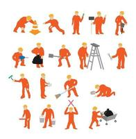 mini workers working vector