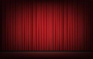 escenario con telón rojo backgrond vector