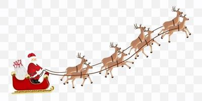 santa claus with reindeers flying vector