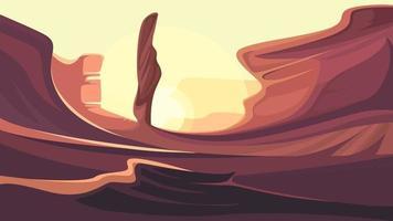 desierto con montañas rojas. vector
