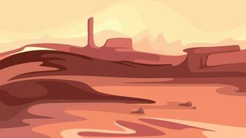 Martian landscape with mountains. vector
