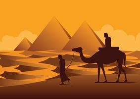 Diseño de silueta de hombres y camellos caminando por el desierto. vector