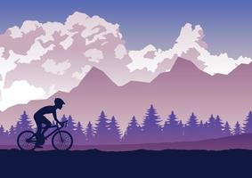Silhouette of activities of people exercising on bikes vector