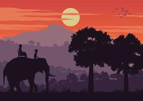people on elephant travel in Thailand jungle vector