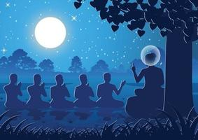 Lord of Buddha sermon to five ascetics, the first monk of Buddhism vector