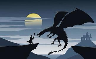 silueta de ficción con caballero y dragón vector