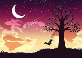 Silhouette design of a girl swinging alone under the tree vector