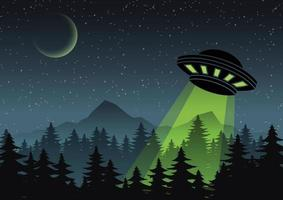 Cartoon version design of UFO over the forest vector