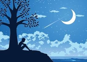 Silhouette design of lonely young man in silent night under a tree vector
