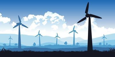 Diseño de silueta de campo de turbina con color de tono azul vector