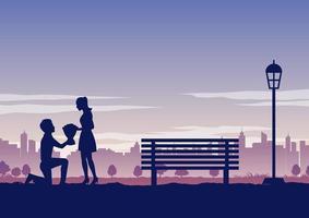 silueta de hombre en el parque dando flores a su novia vector