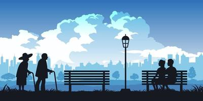 Silhouette of people in park, old and young couples are in love vector