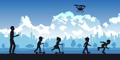 Silhouette of people in park, parents and kids playing with drone vector