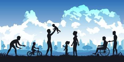 Silhouette of people in park, parents and kids playing vector